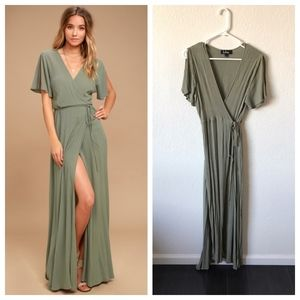 LULUS WASHED OLIVE WRAP MAXI DRESS